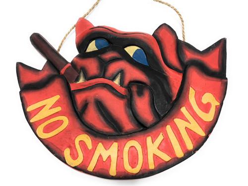 "No Smoking Sign 14"" - Bull Dog Pirate Decor - Hand Carved   #dpt524935"