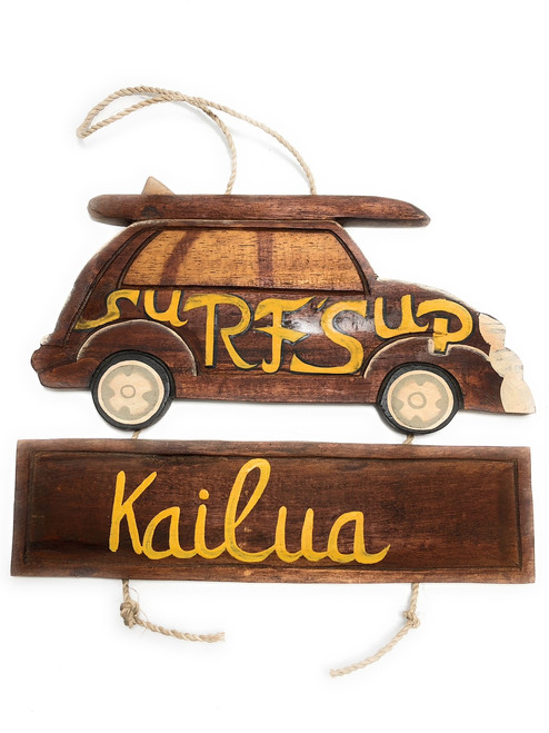 "Surf's Up, Kailua Woody Car Sign 15"" - Surf Decor 