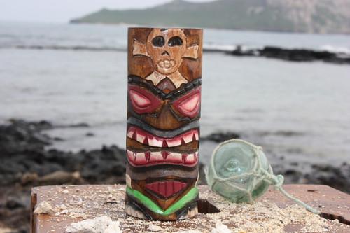 "Tiki Totem Pole 5"" w/ Cross Bones - Skull Decor Hawaii | #dpt535812h"