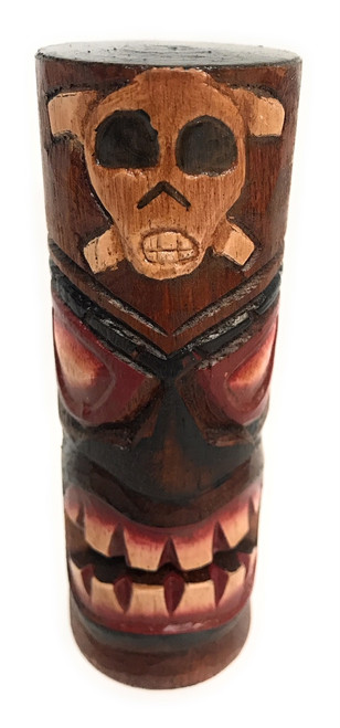 "Tiki Totem Pole 5"" w/ Cross Bones - Skull Decor Hawaii 