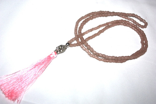 Tassel Necklace Pink Glass Beads Buddha Silver Tone Jewelry | #cik3606p