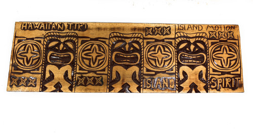 "Tiki Relief Hawaiian Tiki, Island Motion Wood Panel 40"" X 12"" King Kamehameha - Polynesian Wall Art 