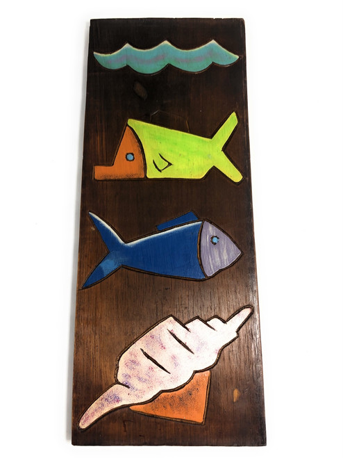 "Fish & Seashells Relief 20"" X 8"" - Wall Art Wood Panel 