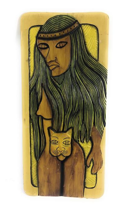 "Tribal Cat Woman, Endangered Species 30"" X 15"" - Primitive Wall Art | #dpt519575"