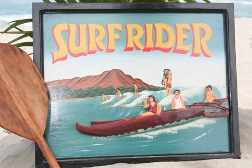 "VINTAGE SIGN ""SURFRIDER"" - 24"" X 16"" HAWAIIAN SURF DECOR"