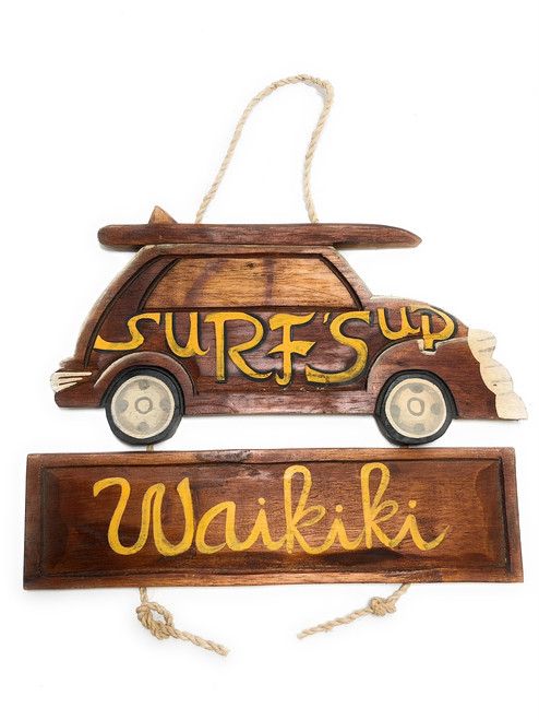 "Surf'Up, Waikiki Woody Car Sign 15"" - Surf Decor 