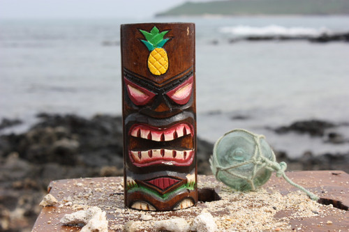 """Tiki Totem 6"""" w/ Pineapple - Hand Carved & Painted 