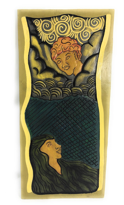 "Hawaiian God: Pele & Maui 30"" X 15"" - Polynesian Art Wall Hanging 