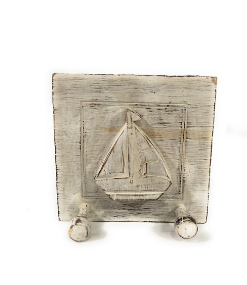 "Cute Sailboat Hanger w/ 2 Pegs 7"" X 7"" - Whitewash Rustic 