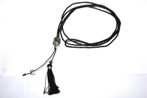 Black Seed Beads Silver Buddha Head Tassel Layering Necklace Fashion Charm Jewelry | #cik3607b