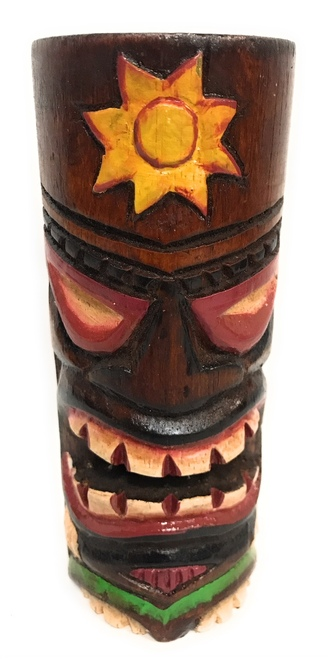 """Tiki Totem 6"""" w/ Sunny Hawaii - Hand Carved & Painted 