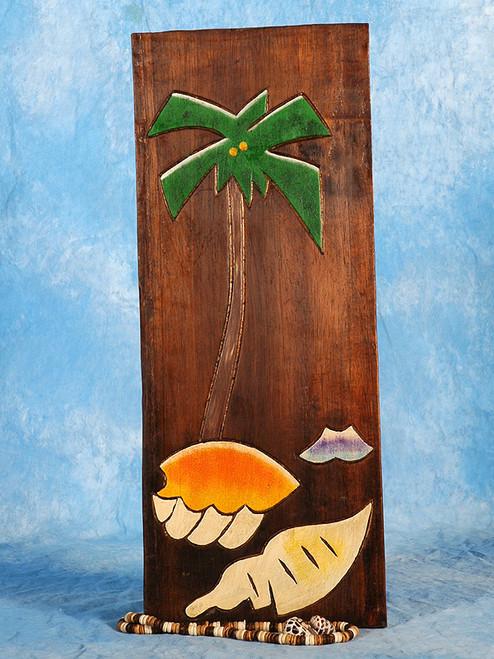 "Palm Tree & Seashells Relief 12"" X 5"" - Wall Art Wood Panel | #dpt516030"
