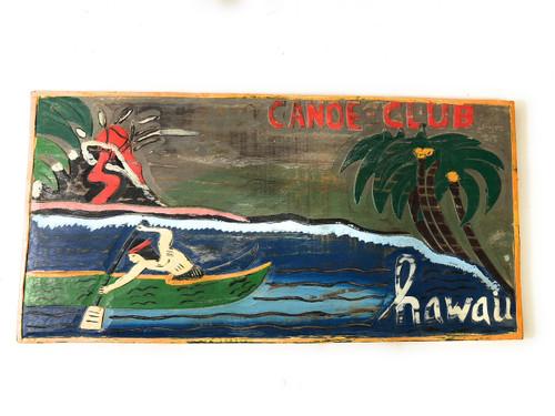 """Canoe Club, Hawaii "" w/ Volcano 24"" - Vintage Replica | #bds12101"