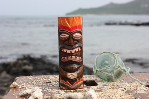 """Tiki Totem 6"""" w/ Lava Hawaii - Hand Carved & Painted 
