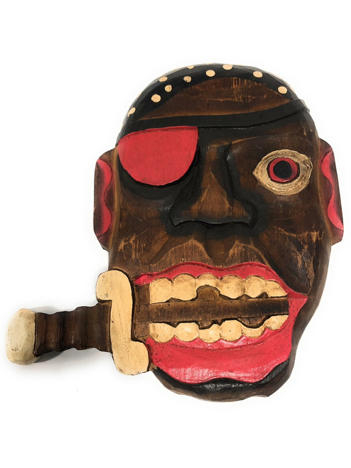 """Pirate Head Wall Plaque 12"""" w/ Knife - Pirate Decor 