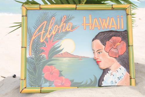"""VINTAGE SIGN """"ALOHA, HAWAII"""" HULA - 24"""" X 16"""" HAWAIIAN SURF DECOR"""