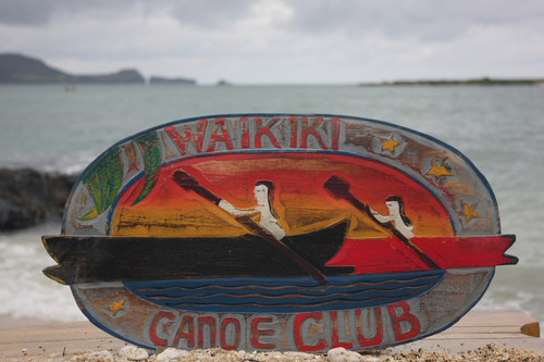 """Waikiki Canoe Club"" Vintage Replica Sign 22"" - Outrigger Canoe 