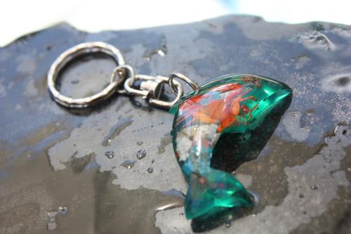 Dolphin Keychain w/ Inlay Sea Life - Green