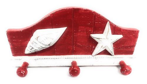 "Seashell Hanger W/ 3-Pegs 12"" - Rustic Red Coastal Decor | #Ata1801428r"