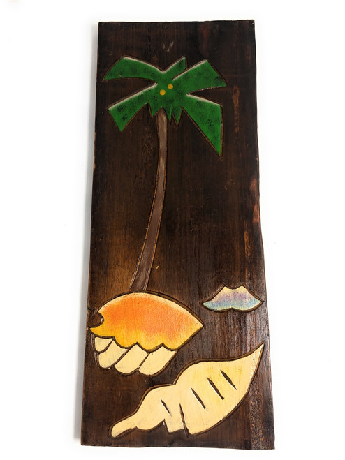 "Palm Tree & Seashells Relief 20"" X 8"" - Wall Art Wood Panel 