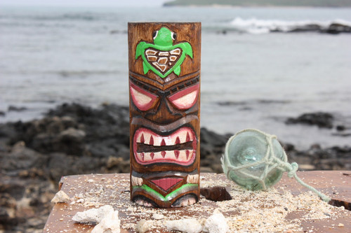 "Tiki Totem 6"" w/ Honu Hawaii - Hand Carved & Painted | #dpt535815e"