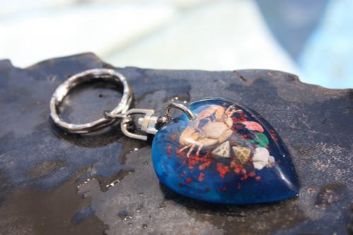 Heart Keychain w/ Inlay Sea Life - Blue