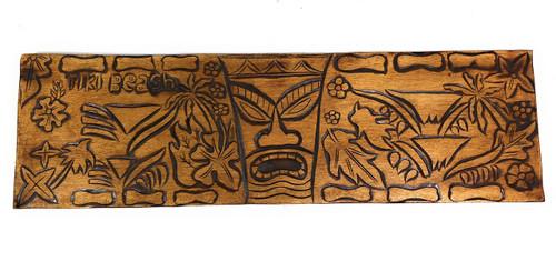"Big Kahuna Tiki Relief, Tiki Beach Wood Panel 40"" X 12"" King Kamehameha - Polynesian Wall Art | #dpt5031100"