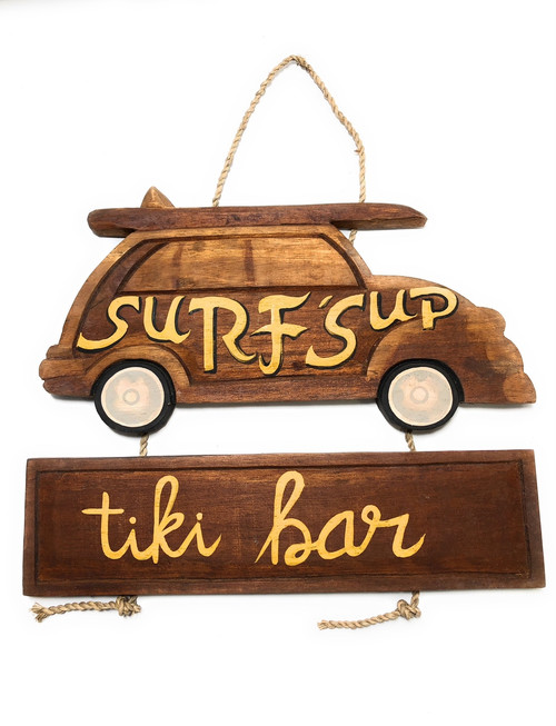 "Surf's Up, Tiki Bar Woody Car Sign 15"" - Surf Decor 