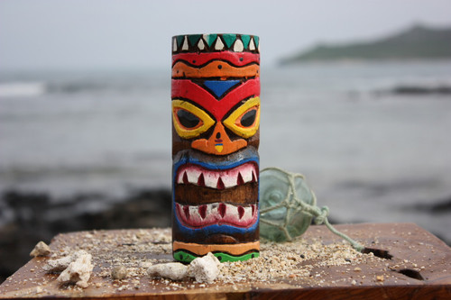 "Tiki Totem 6"" w/ Tribal Hawaii - Hand Carved & Painted 