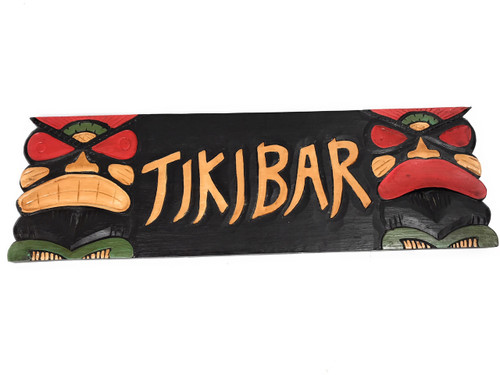 "Tiki Bar Sign 24"" - Hand Carved Tikis - Carved 