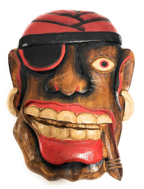 "Pirate Head Wall Plaque 12"" w/ Cigar - Pirate decor 