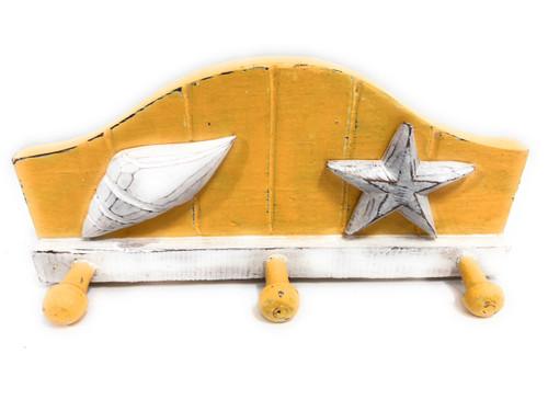 "Seashell Hanger w/ 3-Pegs 12"" - Rustic Coastal decor | #ata1801428y"
