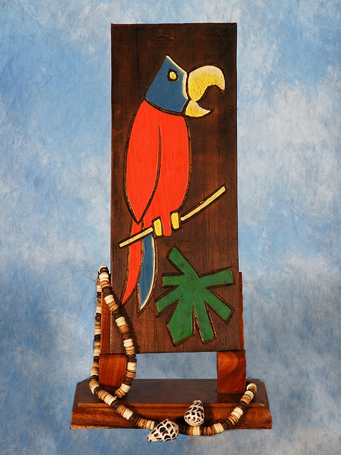 "Parrot & Palm Leaf Relief 12"" X 5"" - Wall Art Wood Panel 