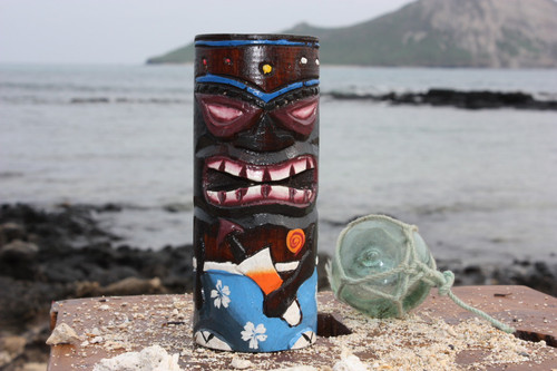 "Tiki Totem 6"" w/ Mai Tai Cocktail - Hand Carved & Painted 