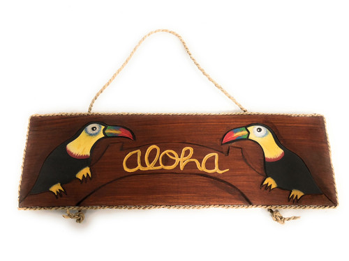 """Aloha Sign 16"""" w/ Parrots - Tequilaville Island Style 