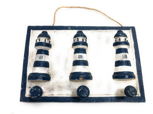 "Lighthouse Hanger 10"" w/ 3 Pegs - Rustic Blue Nautical Accent 