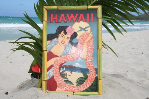 """VINTAGE SIGN """"HAWAII, PANAM"""" - 24"""" X 16"""" HAWAIIAN SURF DECOR"""