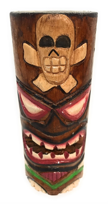 "Tiki Totem 6"" w/ Cross Bones - Skull Hand Carved & Painted 