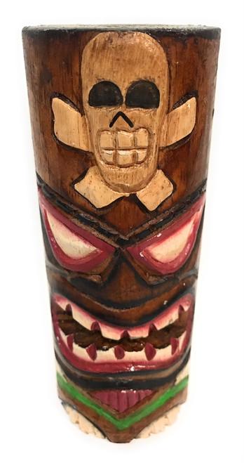 "Tiki Totem 6"" w/ Cross Bones - Skull Hand Carved & Painted | #dpt535815h"