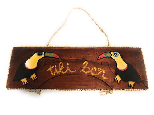 "Tiki Bar Sign 16"" w/ Parrots - Tropical Island Style 