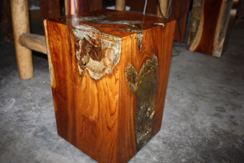 "Teak Root & Resin Pedestal 18"" X 12"" - Hawaiian Heritage"