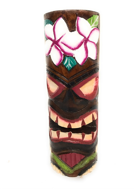 """Tiki Totem 8"""" w/ Plumeria Flowers - Hand Carved & Painted 