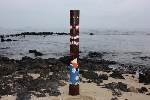 """Da Hula Man"" Tiki Totem 63"" - Hand Painted & Carved - Tropical Decor"