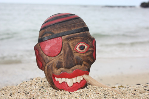 """Pirate w/ Cigar Wall Plaque 8"""" - Hand Carved Pirate Decor 