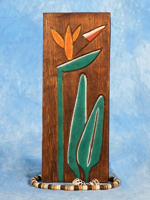 """Bird Of Paradise Flower Relief 20"""" X 8"""" - Wall Art Wood Panel   #dpt516250"""