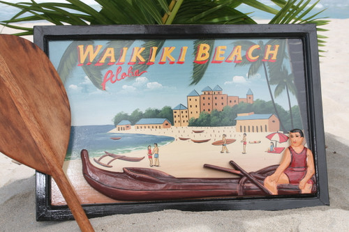 """VINTAGE SIGN """"WAIKIKI BEACH"""" CANOE - 24"""" X 16"""" HAWAIIAN SURF DECOR"""