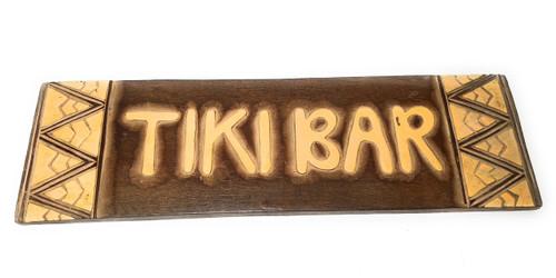 "Tiki bar Sign w/ Tribal Design 24"" - Hand Carved | #dpt1200260"