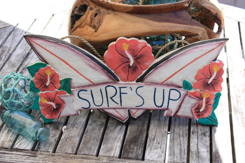 "Surf's Up Surf Sign 16"" - Wall Decor Surfing Accents 