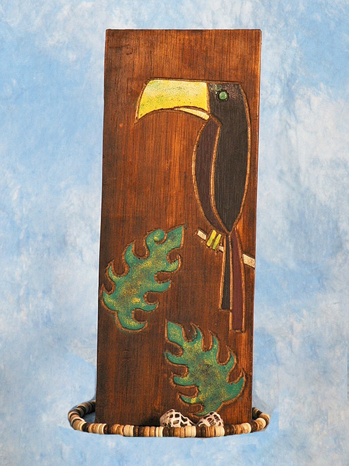 "Toucan Bird & Monstera Leaf Relief 12"" X 5"" - Wall Art Wood Panel 