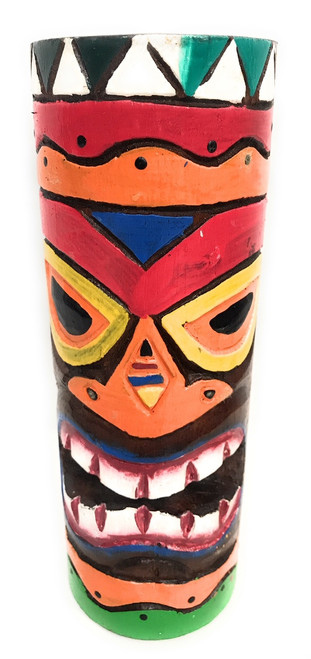"""Tiki Totem 8"""" w/ Tribal Hawaii - Hand Carved & Painted 